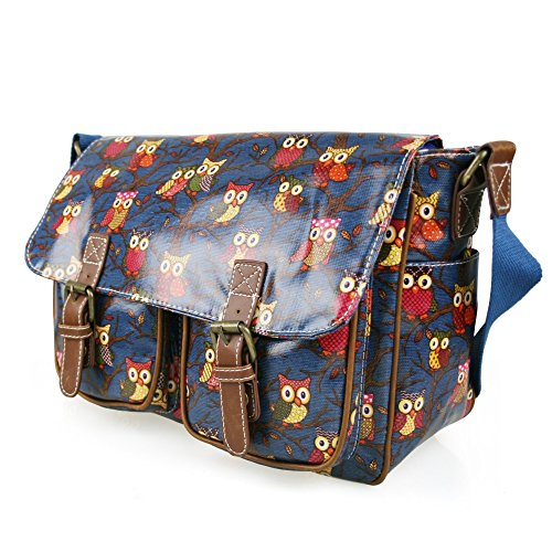 Navy Owl Lulu Satchel Cross Retro Oilcloth Messenger Butterfly School Or Ladies Hand Vintage Miss Leaves Bag Canvas Body Shoulder qUg7nHttxw
