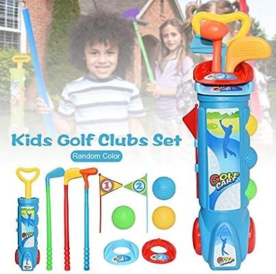 cuckoo-X Mini Golf Trolley Juguete De Jardin Juegos Y Juguetes Entre Padres E Hijos Juego De Golf con 1 Carrito De Golf, 3 Palos De Golf, 2 Hoyos De Entrenamiento, 2 Tees