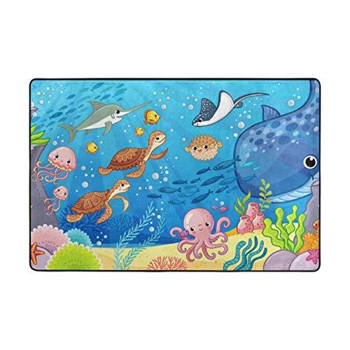 (CANCA Ocean Sea Fish Turtle Tortoise Blue Area Rug Cover Runner Floor Mat Carpet for Kids Boys Girls Bedroom Kitchen Office 60x39 inch or 5x3 Feet)