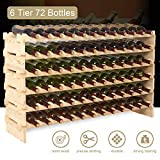 Mecor 72 Bottle Capacity Stackable Storage Wine Rack, Standing Bottles Storage Shelf, Wobble-free,6-Tier