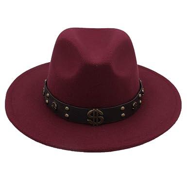 GHC gorras y sombreros Mujeres Hombres Fieltro Sombrero Fedora Con ...