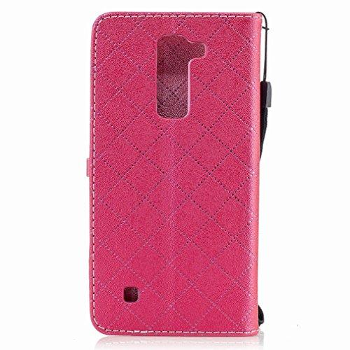 Yiizy LG K7 / X210 / X210DS / MS330 Custodia Cover, Amare Design Sottile Flip Portafoglio PU Pelle Cuoio Copertura Shell Case Slot Schede Cavalletto Stile Libro Bumper Protettivo Borsa (Rose Red)