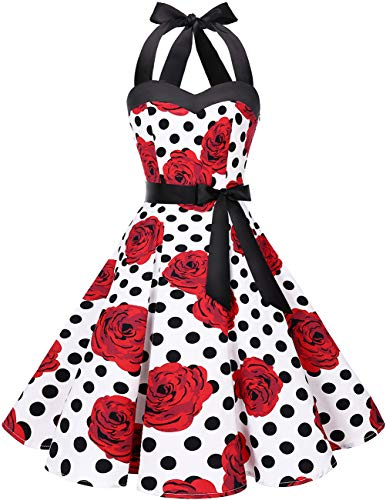 DRESSTELLS 50s Retro Halter Rockabilly Polka Dots Audrey Dress Cocktail Dress White Red Rose Dot XL