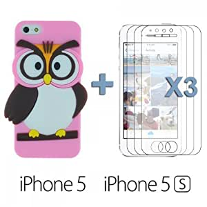 OnlineBestDigital - Owl Style Slim Soft Silicone Case for Apple iPhone 5S / Apple iPhone 5 - Pink with 3 Screen Protectors