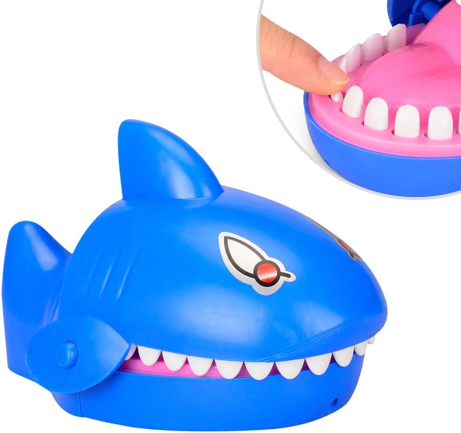 Amosfun Cute Shark Mouth Finger Biting Toy Shark Mouth Dentist Bite Finger Electric Gleamy Sounding Game Funny Toy Kids Children Gift