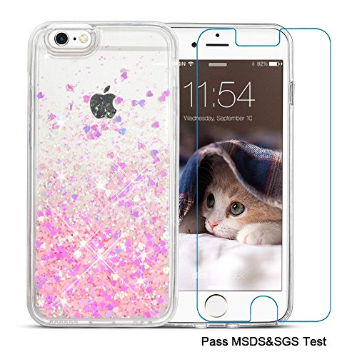 Maxdara iPhone 6/6s Case, iPhone 6/6s Case Flowing Liquid Floating Luxury Bling Glitter Sparkle Case Cover Fashion Creative Design for Girls Children Fit for iPhone 6/6s 4.7 inch (Pink)