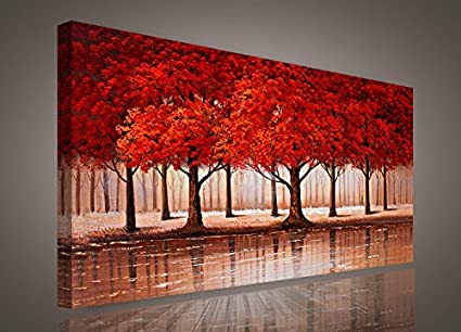 Amazon.com: Red Tree wall art Sunset Woods Canvas Painting Pictures ...