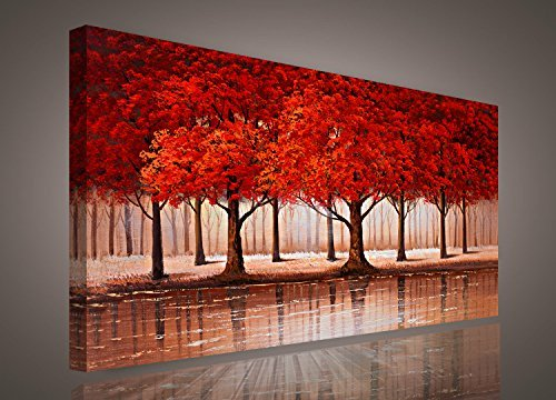Red Tree wall art Sunset Woods Canvas Painting Pictures Prints Photo Home Decor - Panel Framed Forest Landscape Print on Canvas Ready to Hang Modern Artwork for Kitchen Office Home Wall Decoration