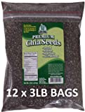 Get Chia Brand BLACK Chia Seeds - 36 TOTAL POUNDS = TWELVE x 3 Pound Bags