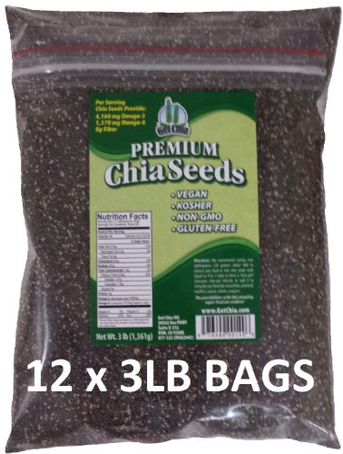 Get Chia Brand BLACK Chia Seeds - 36 TOTAL POUNDS = TWELVE x 3 Pound Bags by Get Chia