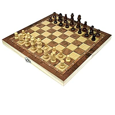 Wooden Chess and Checkers set with Portable Folding Interior Storage Travel Chess Game Board