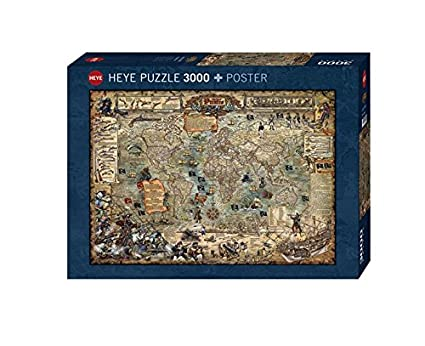 Pirate World Map.Amazon Com Heye Pirate World 3000 Piece Map Jigsaw Puzzle Toys Games