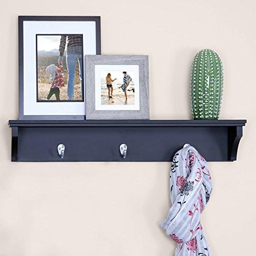 Black Shelf Hooks - Ballucci Coat and Hat Wall Mount Shelf Rack, 3 Metal Hooks, 24