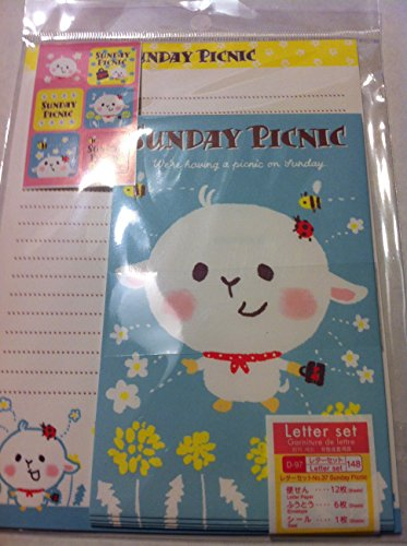 12 Cute Lovely Kawaii Design Writing Stationery Paper with 6 Envelope (Style May Vary)