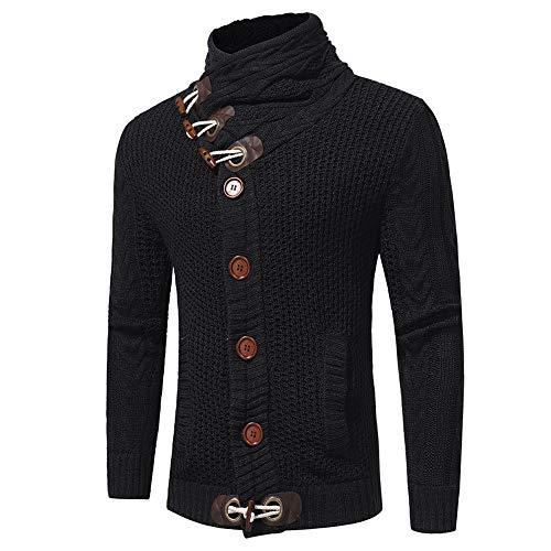 Sunhusing Men Autumn Winter Casual Solid Color Knitwear Cardigan Coat Button-Down Knitting Sweater Coats