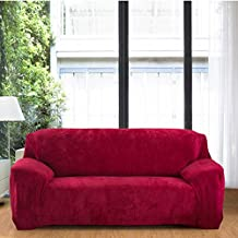 WHOSEE Wine Red Solid Color Slip Cover Couch Settee Sofa Cover Pet Protector Throw 2 Seater