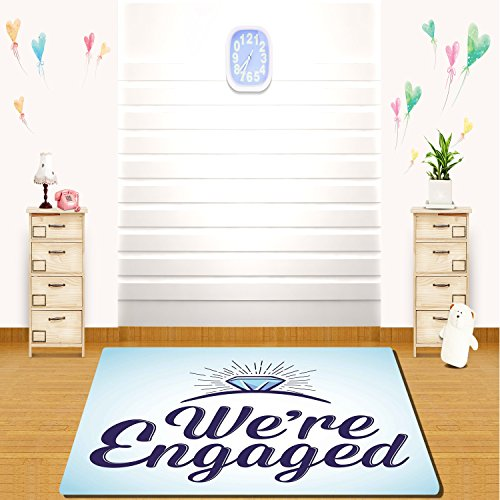 HAIXIA rugs Engagement Party Decorations We Are Engaged Announcement Quote Wedding Ring Full Sky Blue and Navy Blue