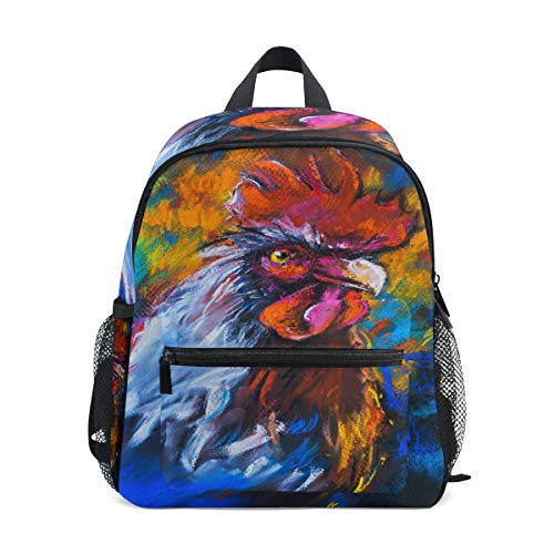 Backpack Original Pastel Painting Of Colorful Rooster Mini Lightweight Bag for -