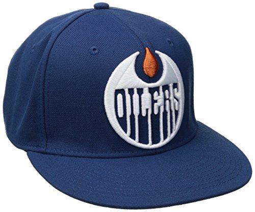fan products of NHL Edmonton Oilers Men's SP17 Oversized Logo Flat Visor Flex Cap, Blue, Small/Medium