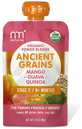 NurturMe Power Blends Organic Baby Food Pouch, Mango + Guava + Quinoa, 3.5 Ounce (Pack of 6)