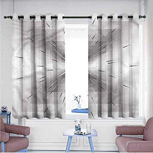 Mdxizc Durable Curtain Ombre Squares and Lines Design Printing Insulation W55 xL72 Suitable for Bedroom,Living,Room,Study, - Sport Ombre Yarn Satin