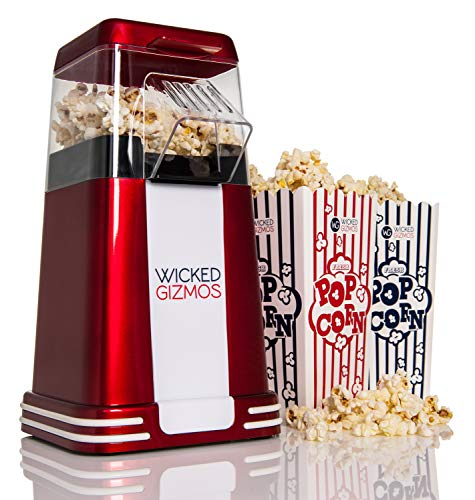 WICKED GIZMOS  New Retro Electric Healthy Fat Free Popcorn Maker 1200w Power - Easy to Make Healthier Snack Popcorn Within 3 Mins - Comes with 6 Serving Boxes (Energy Class A)