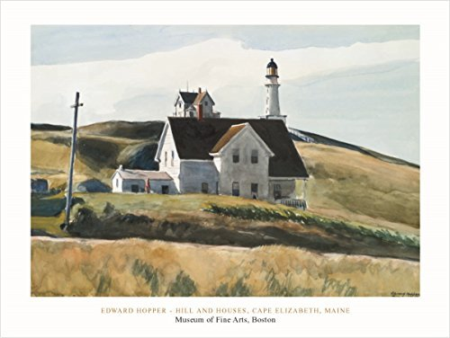 Buyartforless Hill And House, Cape Elizabeth, Maine: 1927 by Edward Hopper 24x31 Art Print Poster Famous Painting Landscape Field Hills White House Coastal Lighthouse (Hopper Edward Cape)