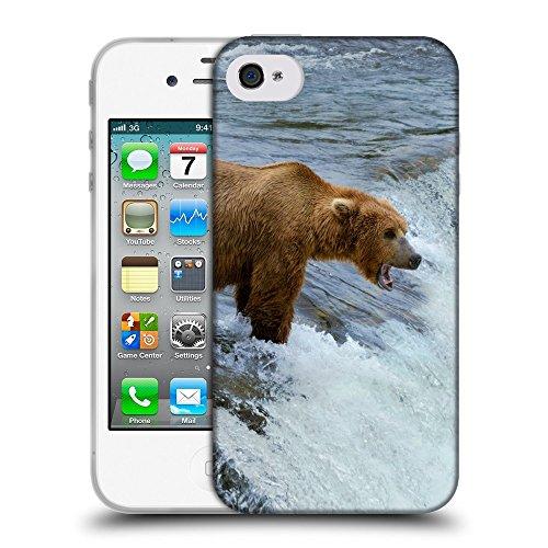 Just Phone Cases Coque de Protection TPU Silicone Case pour // V00004092 Ours chasse dans la rivière de montagne // Apple iPhone 4 4S 4G