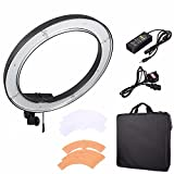 EACHSHOT ES240 240 LED 18'' Stepless Adjustable Ring Light Camera Photo/Video Portrait photography 240pcs LED 5500K Dimmable (1% to 100%)+ 2 Color Filter (without Light Stand)