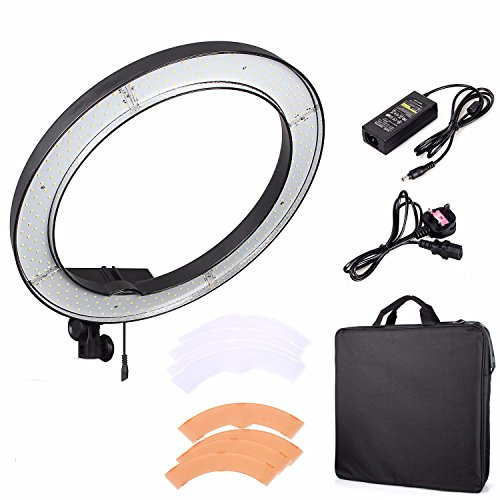 EACHSHOT ES240 240 LED 18'' Stepless Adjustable Ring Light Camera Photo/Video Portrait photography 240pcs LED 5500K Dimmable (1% to 100%)+ 2 Color Filter (without Light Stand) by EACHSHOT