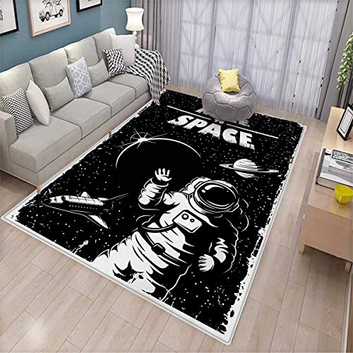 Astronaut Area Rugs for Bedroom The Race to Space Retro Image with Space Crafts Planets Astronaut vs Cosmonauts Door Mats for Inside 6'x9' Black White
