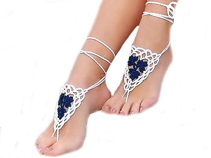 41b3ef3afad Amazon.com  Ewandastore 1 Pair Crochet Barefoot Sandals