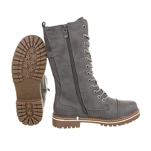 Women's Boots Block Heel Lace-Up Boots at Ital-Design Grey iumxw4