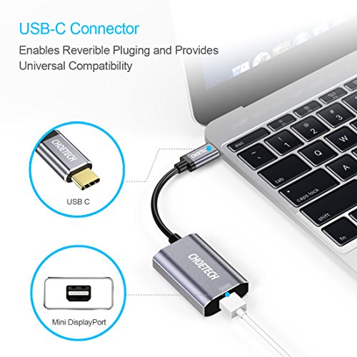 USB C to Mini Displayport, CHOETECH 4K 60Hz Mini DP Adapter with PD Charging Port, Type C to Mini Displayport Adapter for 2016/ 2017 MacBook Pro, 2015/ 2016 MacBook, Samsung Galaxy Note 8/S8/ S8 Plus by CHOETECH (Image #2)