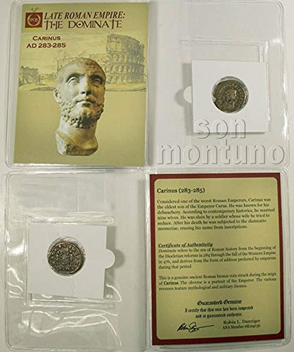 CARINUS - Ancient Roman Bronze Coin in Folder with Certificate of Authenticity - Appointed by Julius Caesar and Erased from Official Roman History! 283-285 AD