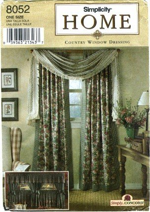 Simplicity 8052 Home Decor Sewing Pattern Window Treatments Drapery Panels Cafe Curtain Valance
