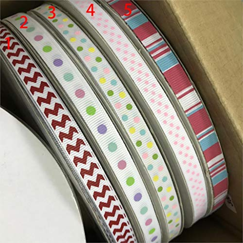 (Best Quality - Ribbons - Crazy Discount 3/8'' 9mm Colorful Chevron Dot Stipe Printed Grosgrain Ribbon for Garden/Home/Party/Tree Decoration,100 Yards - by Olwen Shop)