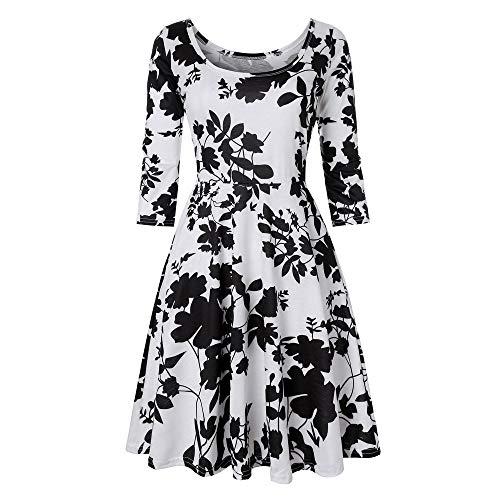 LisYOU Women Three Quarter Sleeve Printing Floral A Line Casual Dress Party Dress(XL, A-Black) ()
