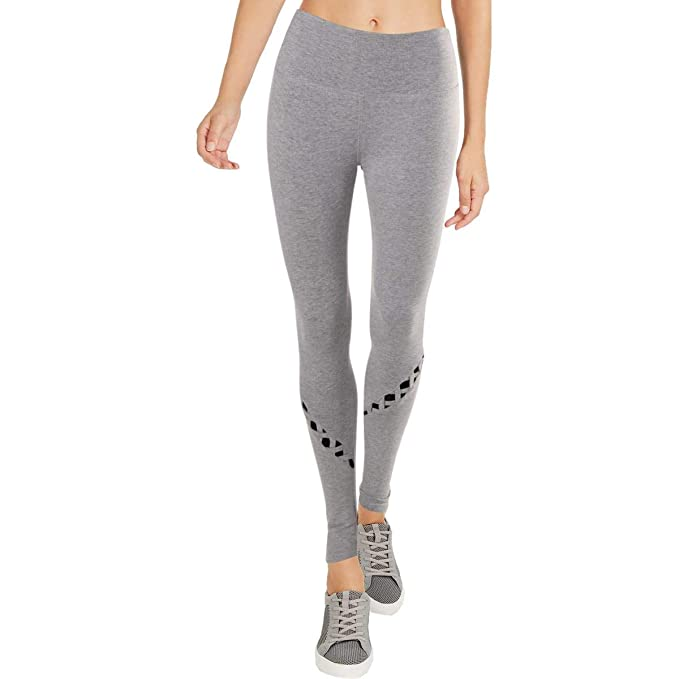 4dde026f20 BEBE SPORT Womens Mesh Panel Fitness Athletic Leggings Gray L at Amazon  Women's Clothing store: