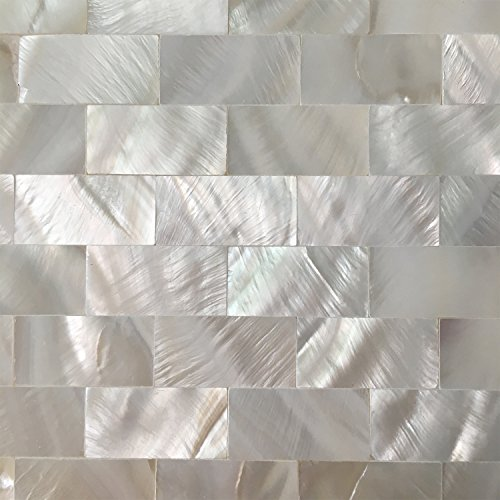 Art3d 6-Pack Peel and Stick Mother of Pearl Shell Tile for Kitchen Backsplashes, 12