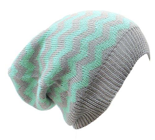 AN Dreadlock Slouchy Beanie Hat Mint Green Gray Zig Zag Stripes Fashion Cap