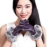 C.A.Z Women Faux Leather Gloves Touchscreen Texting Fleece Lined Gloves With Fur Purple