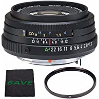 Pentax SMCP-FA 43mm f/1.9 Limited Series Autofocus Lens (Black) + UV Filter + MicroFiber Cloth 6AVE Bundle