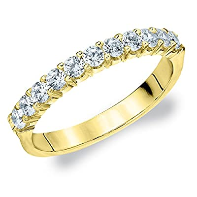 14K Yellow Gold Diamond Prong Set Wedding Band (.50 cttw, G-H Color, SI1-SI2 Clarity)