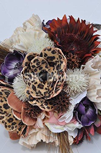 Animal Print Artificial Brown Sunflower and Leopard Print Handmade Magnolia Flower Bridal Bouquet