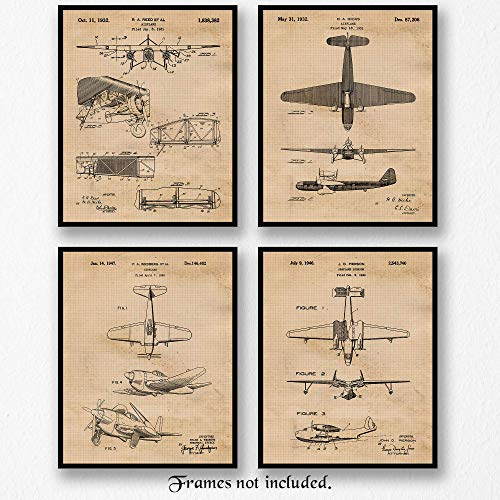 Original Vintage Airplane Patent Art Poster Prints - Set of 4 (Four 8x10) Unframed - Great Wall Art Decor Gifts Under $20 for Home, Office, Studio, Garage, Man Cave, Pilot, Airport, Aviation Fan