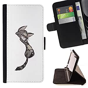 Momo Phone Case / Flip Funda de Cuero Case Cover - Kitten minimaliste Gay Dessin - HTC One Mini 2 M8 MINI