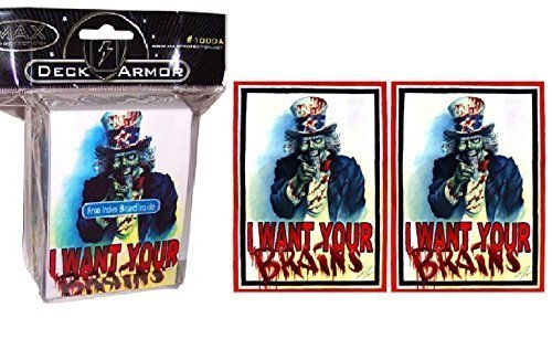 I WANT YOUR BRAINS ! Zombie Uncle Sam - DECK BOX + 100 Matching GLOSS Finish Sleeves by MAX PRO (fits Magic / MTG, Pokemon -