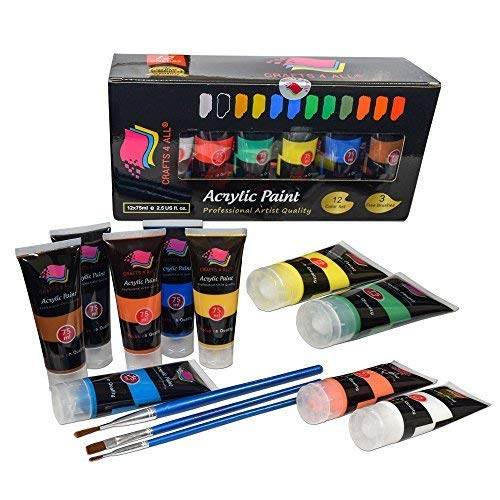 - Crafts 4 ALL Acrylic Paints Set Studio Large 75m ml(2.64 oz) Paint Tubes Professional Grade Painting Kit for Canvas, Wood, Clay, Fabric, Nail Art, Ceramic