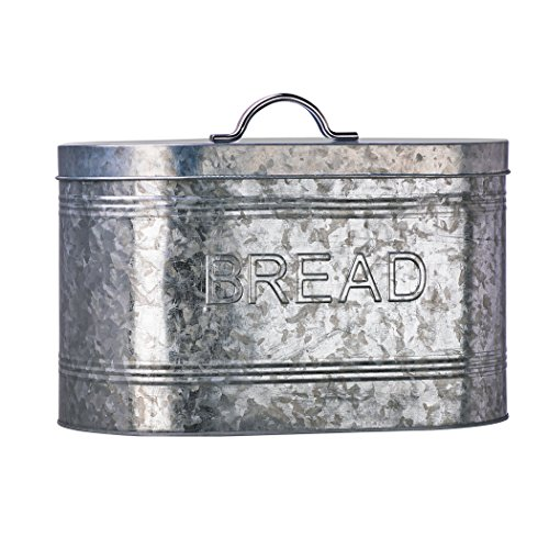 Amici Home, A7CJ009R, Rustic Kitchen Collection Bread Galvanized Metal Storage Canister, Food Safe, Push Top Lid, 288 Ounces - Push Top Lid